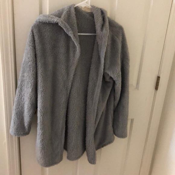 Gray Fuzzy Sweater Jacket